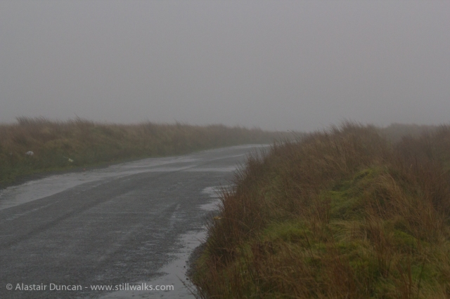 hill road in mist
