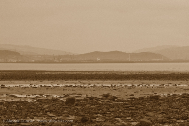Swansea Bay in sepia