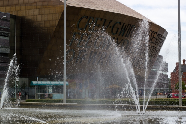 fountains in front of the Wales Millennium Centre